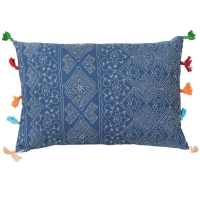 Tassled Cushion - Diamond - Blue