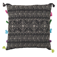 Tassled Cushion - Triangles - Black