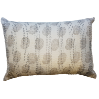 Block Printed Cushion with Kantha Stitching - White / Grey