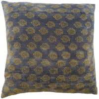 Velvet Cushion - Paisley - Grey / Mustard