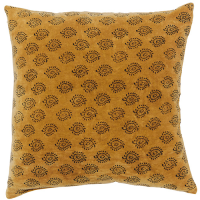 Velvet Cushion - Paisley - Mustard / Grey
