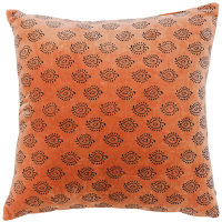 Velvet Cushion - Paisley - Burnt Orange / Grey