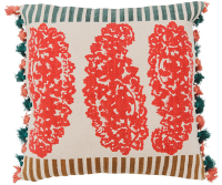 Block Printed Dhurry Cushion - Heavy Paisley - Red / Multi