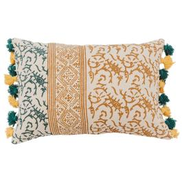 Block Printed Dhurry Cushion - Twigs - Mustard / Green