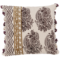 Block Printed Dhurry Cushion - Delicate Paisley - Khaki / Purple