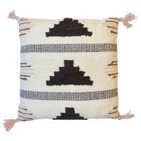 Pyramid Cushion - White / Brown / Pale Pink