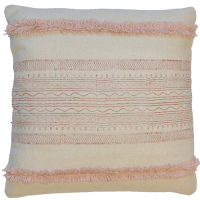 Fringed Block Printed Cushion - Pale Pink / White