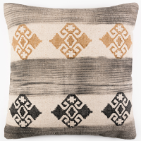 Tribal Block Printed Cushion - Charcoal / Brown / Cream