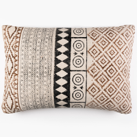 Tribal Block Printed Cushion - Brown / Cream