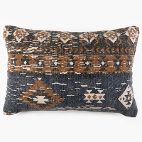 Tribal Block Printed Cushion - Blue / Charcoal