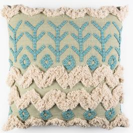 Tufted Khadi Cushion - Mint Multi