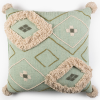 Tufted Diamond Khadi Cushion - Mint Multi