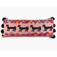 Animal Khadi Cushion - Pink Multi