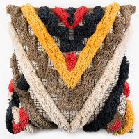 Tufted Triangle Khadi Cushion - Multicolour