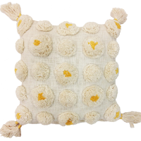 Tufted Circle Cushion - White / Yellow