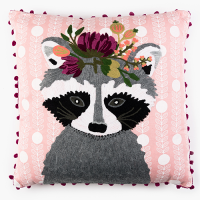 Raccoon with Garland Cushion - Multicolour