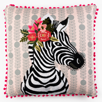 Zebra with Garland Cushion - Multicolour