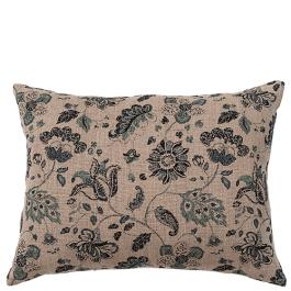 Chintz Linen Cushion - Wildflower - Natural / Ink