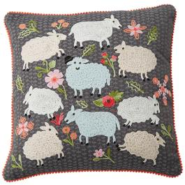 Frolicking Sheep Cushion - Multicolour