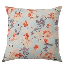 Floral Printed Linen Cushion - Sea Foam Multi