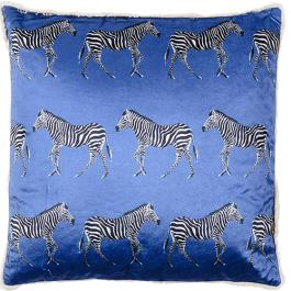 Zebra Cushion - Blue Multi