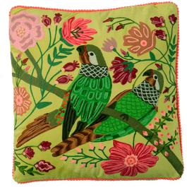 Velvet Embroidered Parrot Cushion - Lime Multi
