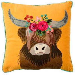 Velvet Embroidered Highland Cow Cushion - Mustard Multi