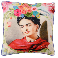 Frida Canvas Cushion - Red Scarf - Multicolour