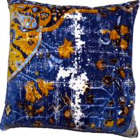 Velvet Vintage Floor Cushion - Royal Blue / Mustard