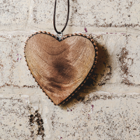 Timber Heart with Copper Studs - Medium - Natural / Copper