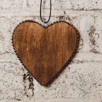 Timber Heart with Copper Studs - Large - Natural / Copper