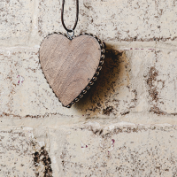 Timber Heart with Silver Studs - Small - Natural / Silver