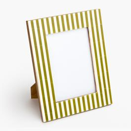 Striped Photo Frame - Green / Cream
