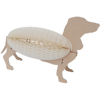 Concertina Lamp - Dachshund - Natural / White