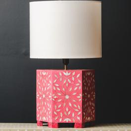 Bone Inlay Hexagonal Lamp Base - Sunburst - Hot Pink