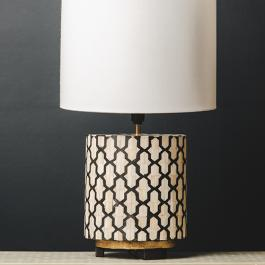 Bone Inlay / Metal Round Lamp Base - Jali - Black