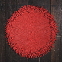 Beaded Fringed Mat - Coral