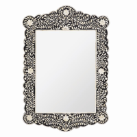 Bone Inlay Scalloped Mirror - Floral - Black