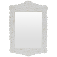 Bone Inlay Scalloped Mirror - Floral - White