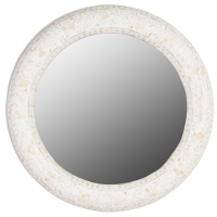 Floral Bone Inlay Round Mirror - White