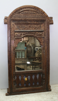 Carved Timber Mirror - Brown