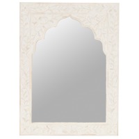 Bone Inlay Mirror - Small - Floral - White