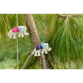 Felt Garland - Elephant - Pink / Purple