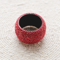 Beaded Napkin Ring - Coral