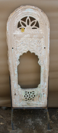 Carved Stone Panel with Iron Stand - Brown