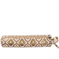 Decadence Leather Pencil Pouch  - Fleur de Lys - Copper Multi