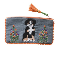 Embroidered Purse - St Bernard - Grey