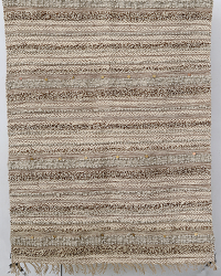 Tangiers Fringe / Sequin / Stripe Rug - Brown / Cream