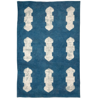 Applique Rug - Key Hole - Denim Blue