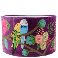 Drum Lampshade - Velvet Embroidered Budgies - Purple Multi